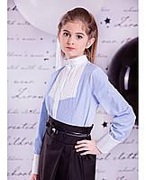 """Блуза голубая с длинным рукавом  """"Blue pearl"""" Zironka"""