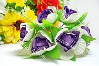 Бумажные цветы бело-фиолет 3.5см уп./6 цветков