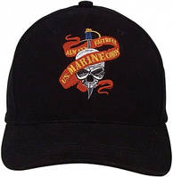 Бейсболка Rothco Baseball Cap - Black (Marine Skull Ribbon)