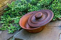 Миска с крышкой, красная глина