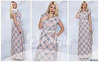 Женское платье макси в клетку с белым поясом