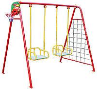 Качели уличные для двух детей (качели+баскетбольное кольцо+ гладиаторская сетка+дартс)