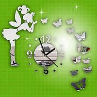 Настенные часы фея с бабочками виниловые стикеры сделай сам много цветов diy