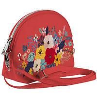 Коралловая сумочка Кокетка с принтом Букет цветов