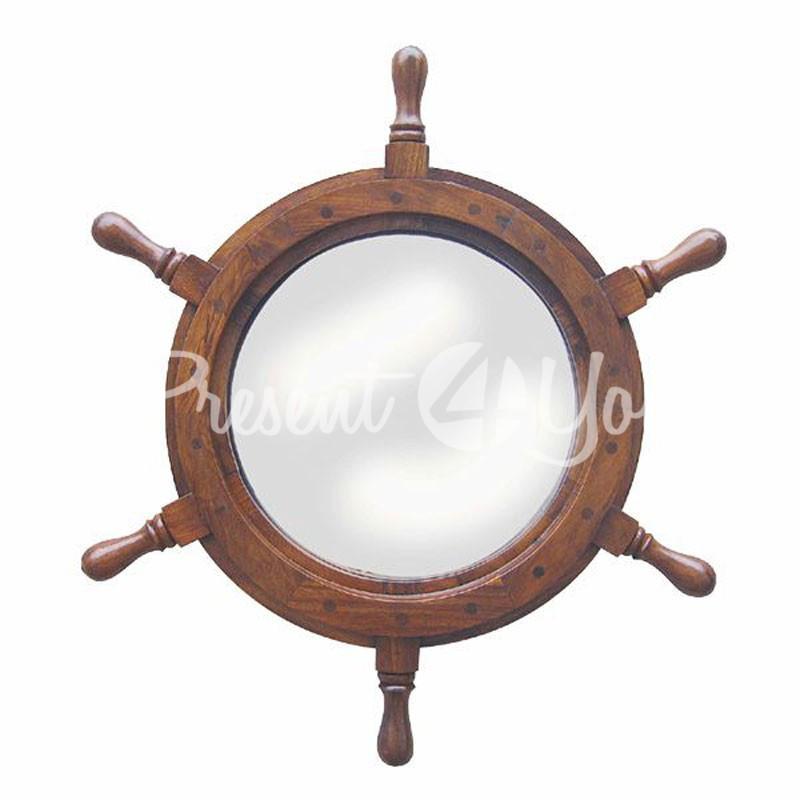 Морской сувенир зеркало Штурвал Sea Club, d-45 см.