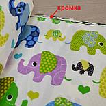 Отрез ткани с индийскими слонами, цвет зелёный №299а, фото 4