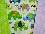 Отрез ткани с индийскими слонами, цвет зелёный №299а, фото 5