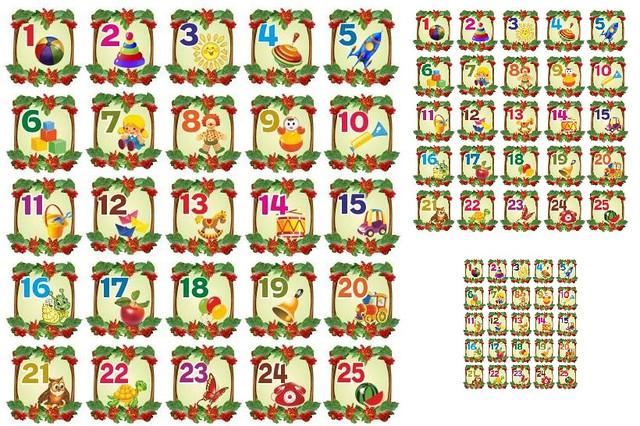 Цифры с картинками на детские шкафчики в детском саду 11