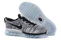Кроссовки женские летние Nike Air Max Flyknit Grey Black серые беговые (молодежные, спортивные, стильные)