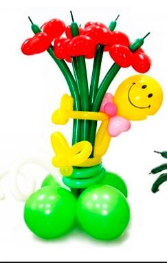 """Букет """"Радость"""" 5 цветков с человечком"""