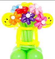 """Букет из шаров """"Смайлик"""" 7 цветков с подставкой"""