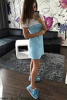 Женское платье свободное голубое  р. 42,44,46