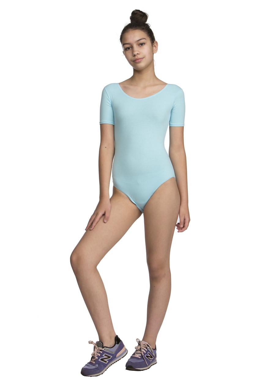 Купальник классика с коротким рукавом х/б голубой - «Dance & Sport» — оптово-розничный интернет-магазин одежды для спорта и танцев в Одессе