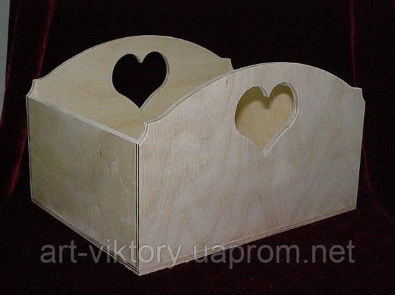 Короб великий сердечко (25 х 20 х 15 см), фото 2