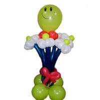 """Букет из шаров """"Веселый букет"""" 6 цветков + смайлик с подставкой"""