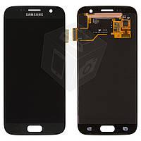 Дисплейный модуль (дисплей + сенсор) для Samsung Galaxy S7 G930F, черный, оригинал