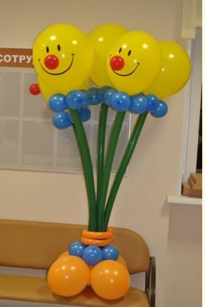 """Букет """"Клоуны"""" 5 цветков на подставке"""