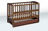 Кроватка для детей на шарнирах + ящик + откидная боковина (бук),  Гойдалка