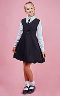 Школьный детский сарафан Цветочек ( черный)