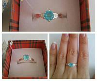 Кольцо серебрянное с голубым камнем