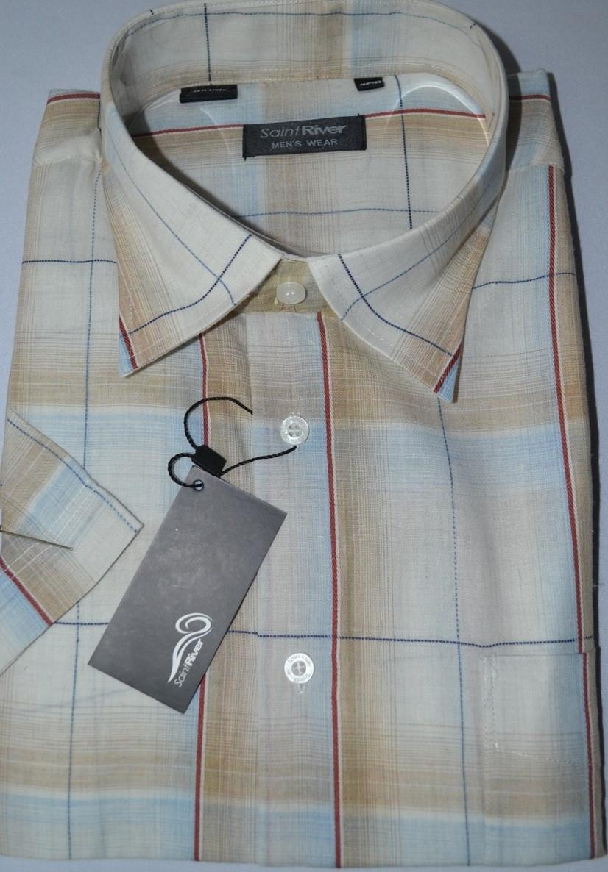 Рубашка с коротким рукавом 100% лен (размер 39.40.41)