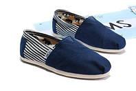 Тапки TOMS женские синий носок по бокам полоски