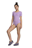 Купальник женский классический для танцев хб с коротким рукавом 6028-2