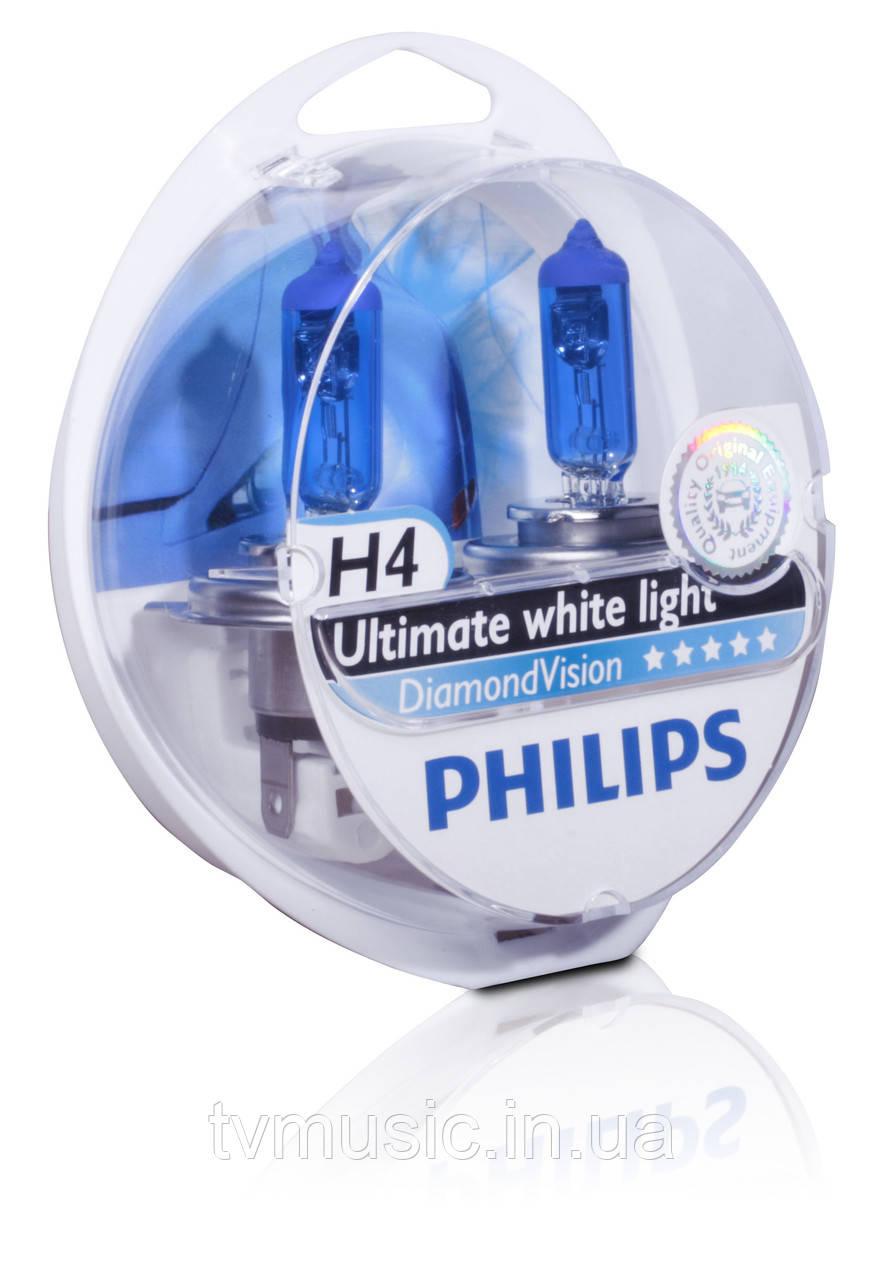 Галогенные лампы Philips Diamond Vision H4 12V (12342DVS2)