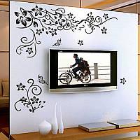 Наклейка виниловая Цветочный принт (чёрный) 3D декор