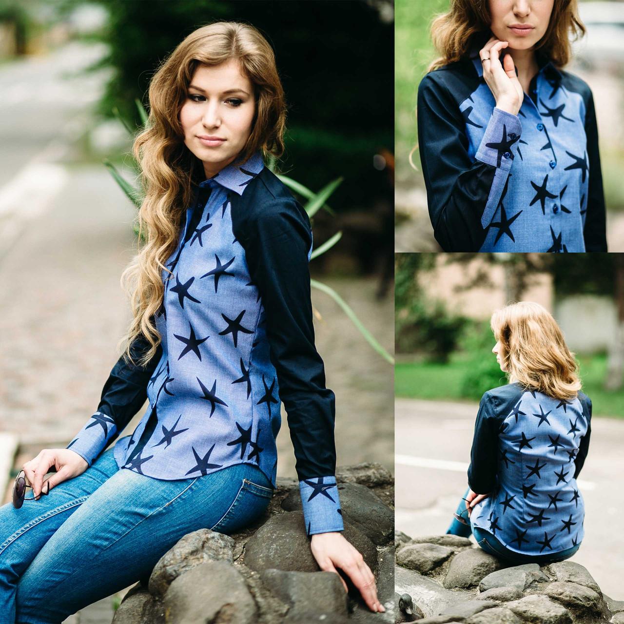 44c06d1d8c87be9 Рубашка женская джинсовая. Длинный рукав, контрастная отделка,  полуприталенная. Разм. M,XXL.Davanti.