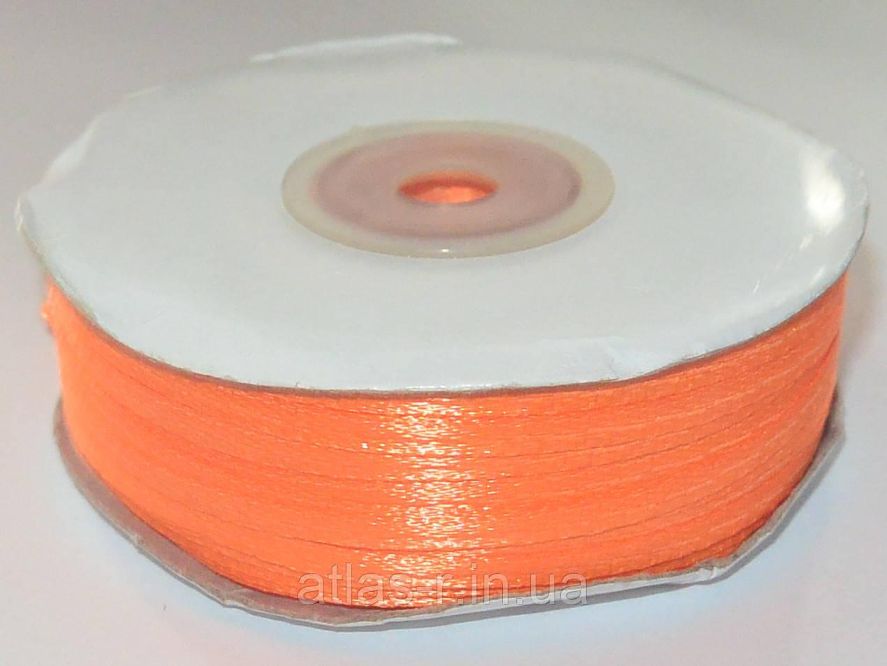 Оранжевая атласная лента 3мм 123м