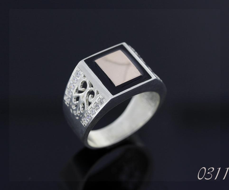 Печатка кольцо серебряная с золотом и эмалью  34942