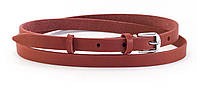 Аккуратный женский тонкий красный кожаный ремешок (100611)