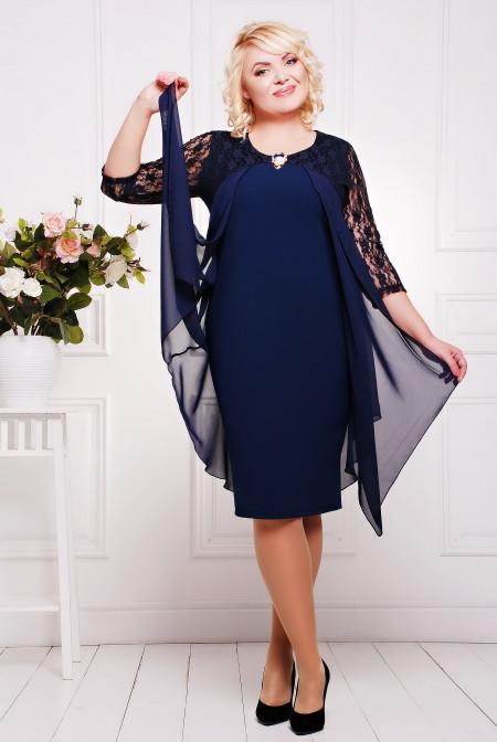 26f485a9501 Вечернее платье Роза синее большие размеры 50-58 - Интернет-магазин одежды