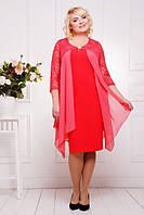 Вечернее красное платье Роза большие размеры 50-58