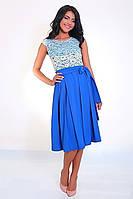 Нарядное женское платье с пояском, фото 1