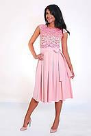 Нежно-розовое платье из облегченной костюмной ткани, фото 1