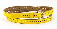 Женский  ярко-желтый тонкий кожаный ремешок (100641)