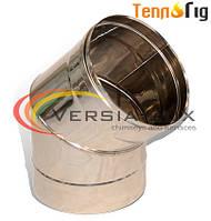 Колено для дымохода 45°, 90° одностенное  из нержавеющей стали 0,8 мм