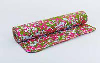 Коврик для фитнеса Yoga mat, мультиколор (белый-розовый-зелёный)