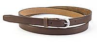 Классический коричневый женский тонкий кожаный ремень (100620)