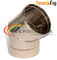 Колено для дымохода 45°, 90° одностенное  из нержавеющей стали 1,0 мм