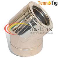 Колено для дымохода 45°, 90° двустенное (сэндвич) нерж/нерж 0,6 мм