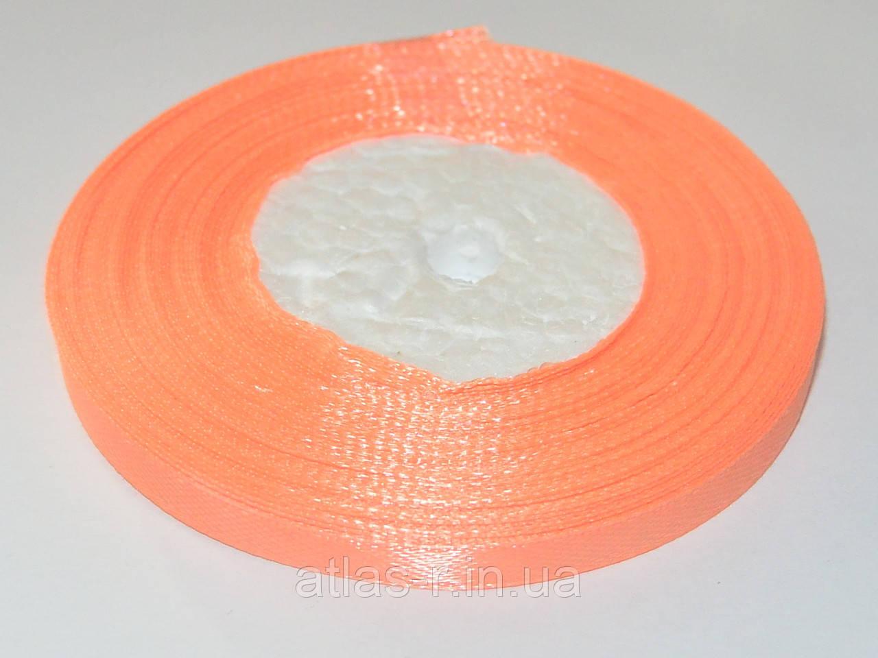 Персиковая атласная лента 7мм 23м