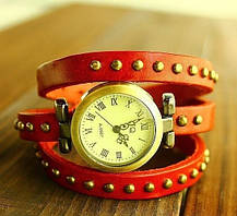 Женские часы JQ с кожаным ремешком красный