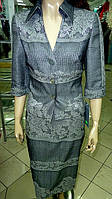 Костюм серебристый, с модными серебристыми нитками,женские костюмы +для полных