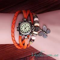 Женские часы Viser с бабочкой оранжевые