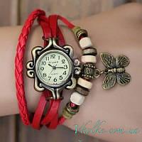 Женские часы Viser с бабочкой красные