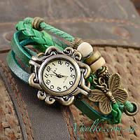 Женские часы Viser с бабочкой зеленые