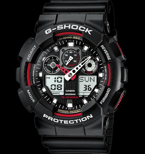 Часы Casio Original G-Shock GA100-1A4 черные с красным